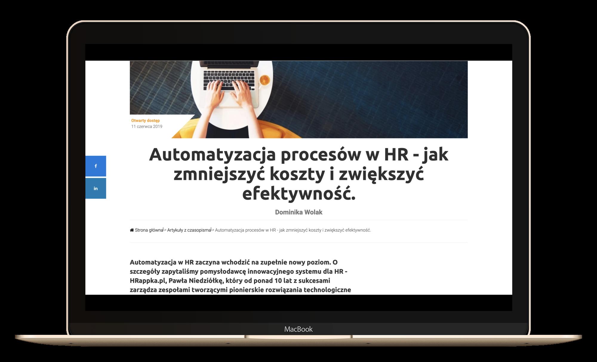 HRappka w artykule o automatyzacji (HR Business Partner)